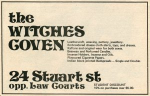 The Witches Coven could supply all the needs of the 'with it' 1970s student. Advertisement from the OUSA Orientation Handbook, 1975.