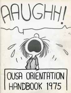 The cover of the 1975 OUSA Orientation Handbook featured Patty from the popular Peanuts cartoon.