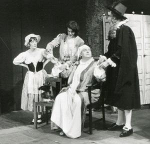 Priscilla McQueen (Toinette), Malcolm Glenny (Thomas Diafoirus), Ray Stone (Argan) and Jack Thompson (Monsieur Diafoirus) in 'Le Malade Imaginaire', Allen Hall, 1971.