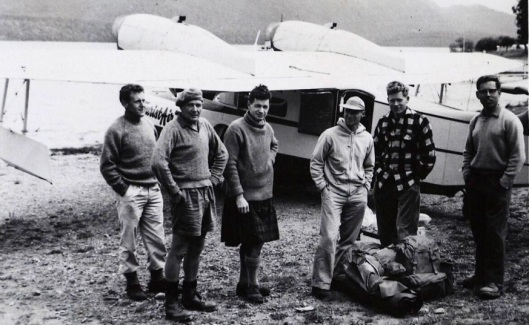 Botanists on a research trip to Secretary Island, Fiordland, in 1964. From left - Alan Mark, Geoff Baylis, George Scott, - Bliss, Peter Wardle, - Jacobs. Photograph courtesy of the Department of Botany.
