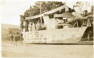 "The School of Mines ""SS War Bride"" float from the 1946 procession. Photograph courtesy of Arthur Campbell."