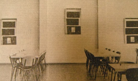 The three copies of McCahon's painting on display in the Otago student union. From the front page of the Evening Star, 26 October 1961.