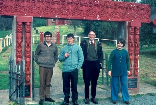 Anthropologists outside Otakou Marae in 1970. Left to right: Kevin Jones (postgraduate student), Foss Leach (assistant lecturer), Edmund Leach (visitor to the department, a distinguished anthropologist from Cambridge University), Sally Mirams (student). Photograph courtesy of Helen Leach and the Department of Anthropology and Archaeology.
