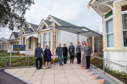 Staff outside the Maori Centre in 2014. Image courtesy of University of Otago Marketing and Communications.